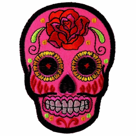 Iron On Pink Rose Sugar Skull Patch