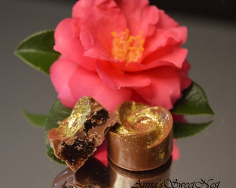 Belgian milk chocolate Valentine's golden flowers* Truffles * Pralines * Bon Bons* High quality *
