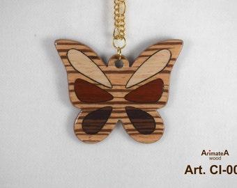 Batterfly-wooden pendant CI-004