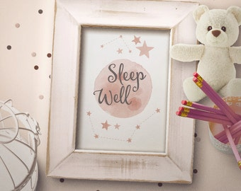 Sleep Well -  Baby Nursery - Seep well baby poster. Moon and stars kids room . 8x10 5X7 Instant Download