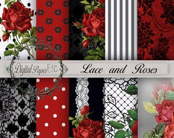 Red and Black Digital Paper, Red Roses and Lace,Red and Black, Digital Background Paper, Red and Black Digital Sheets, Digital Papers P 80B.
