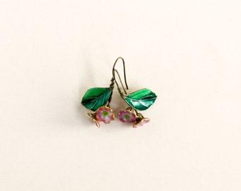 Vintage Enamel Flower and Leaf Earrings