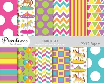 Carousel Digital Paper, Carousel Patterns, chevron, polka dots, stripes, for scrapbooking, invitations, paper crafts, INSTANT DOWNLOAD