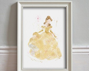 Beauty and The Beast Belle ART PRINT Illustration Watercolor Print Poster Home Decor Wall Art Nursery Art Disney Princess - PRINT