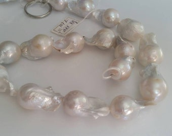"FRESH WATER Pearl Baroque Shape , White pearl Nugget shape . Length 16"" , Size 16X27MM, Natural Pear Necklace"