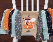 WOODLAND fox tribal banner first one birthday party banner garland bunting pow wow wild one cake smash high chair highchair banner