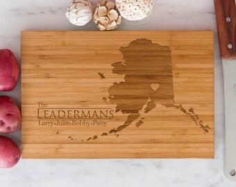 Alaska Personalized Cutting Board Men Chef Dad Mom Gift Initials Home State Wedding Anniversary Kitchen Decor Shower Family Monogram Wood
