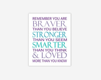 Baby Girl Nursery Wall Art Purple Lavender Teal Turquoise Aqua Canvas Prints Always Remember You Are Braver Stronger Loved Girl Room Decor