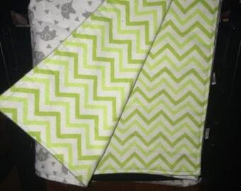 Reversible Elephants,Triangles/Green Chevron Flannel Baby Blanket/ Flannel Stroller Blanket/ Lightweight Blanket