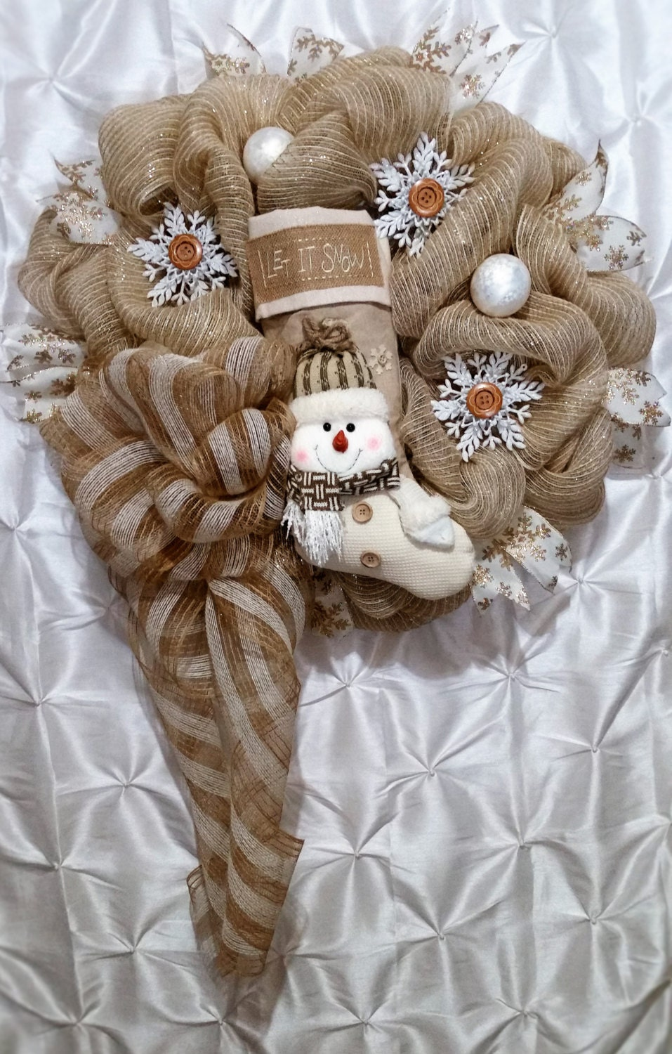 Christmas wreath burlap jute snowman wreath by for Snowman made out of burlap