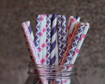 Paper Straws/Drinking Straws/Purple and Pink Party Straws/Purple Straws/Pink Damask Straws/Hot Pink Straws/Bridal Shower Straws