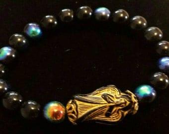 Black glass beaded angel bracelet