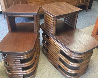 Paul Frankl Rattan Side Tables