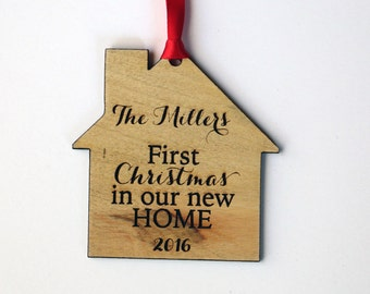 First Christmas in our New Home Personalized Ornament - Family Name Ornament - Housewarming Gift - Moving Gift - Laser Engraved Wood