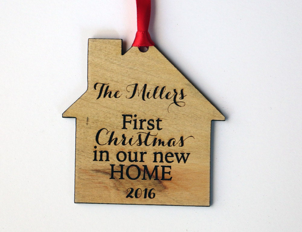 First Christmas in our New Home Personalized Ornament Family