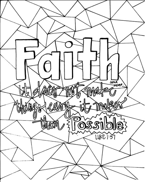 Items Similar To Faith Coloring Page Pdf On Etsy