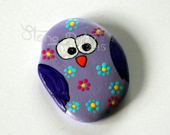 Fridge Pebble Magnet Owl