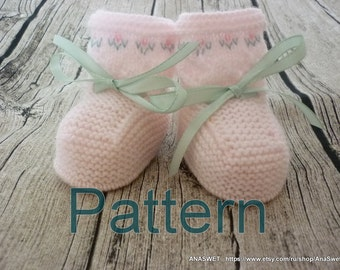 Knitted baby pattern PDF,baby booties, knitted baby shoes in pink.