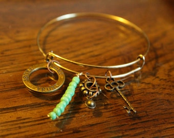 Gold Charm Bangle Bracelet