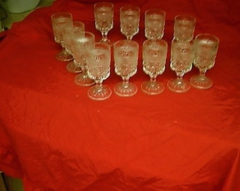 Set of 12 Anchor Hocking Wexford Diamond Cut Claret Wine Glasses Goblets 5 oz Stems