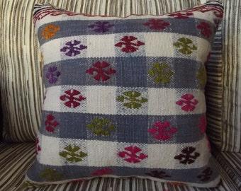 "Handmade Turkish Kilim Pillow Cover 16"" x 16""  Embroidered Vintage Turkish Kilim Rug Decorative Pillow Cover Handmade Kilim Cushion Cover"