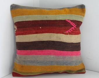 18x18 kilim pillow 18x18 striped kilim pillow cushion cover flat woven Turkish kilim pillow throw pillow ethnic pillow kilim pillowcase 14