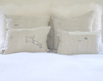 "Vintage Stitched Linen Pillow Cover | 20"" x 20"""