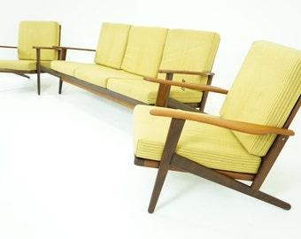 306-136 SALE! Danish Mid Century Modern Teak Sofa & Pair Lounge Chairs