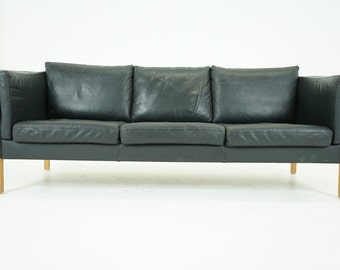 306-133 SALE! Danish Mid Century Modern Black Leather Sofa Couch
