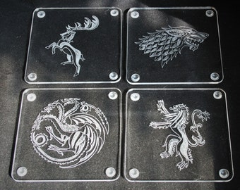 Game of Thrones coasters, house sigils, Stark, Baratheon, Lannister, Targaryen, Set of beer mats, gift for him, table decor, GoT fan gift