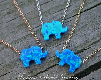 Reconstitute Blue Opal Baby Elephant Necklace