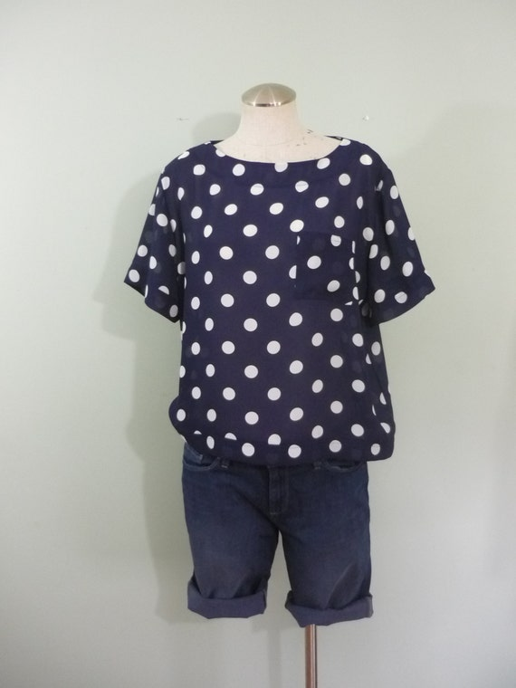 1980s Sheer Boxy T-shirt Blouse / Vintage Navy Blue and White Polka Dot Top / Modern Size Medium to Large