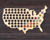 USA Beer Cap Map from Birch Plywood. Beer Cap Holder Beer Cap Display. Gift for Beer Aficionado Gift for Him Father's Day Gift Chrismas Gift
