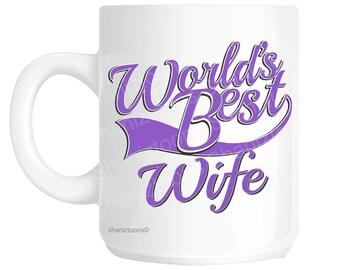 Wife World's Best Purple Novelty Gift Mug shan858
