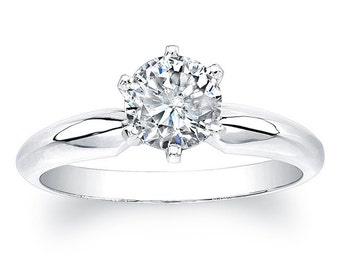 1/2 ct Cubic Zirconia 6-Prong Solitaire Sterling Silver Engagement Ring