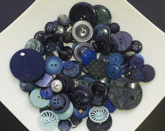 Lot of various colors Blue vintage buttons