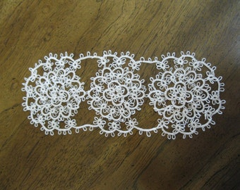 Handmade Ecru/Tan/Cream Tatted Lace Oval Doily