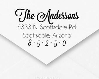 Self-Inking Address Stamp, Wedding Address Stamp, Engagement Gift, Housewarming Gift, Thank You Cards, Cursive Embellished Cute Font