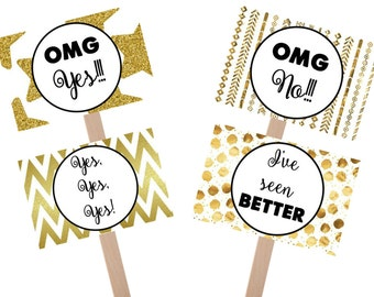 Instant Download: Say Yes to the Dress black and gold sign, yes to dress paddle, wedding dress shopping signs