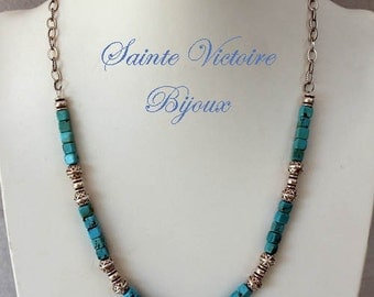 Turquoise necklace and metal beads