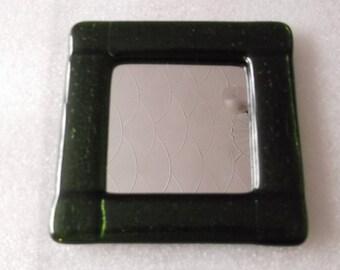 Fused Glass Mirror. Aventureen Green. Free Standard Postage.