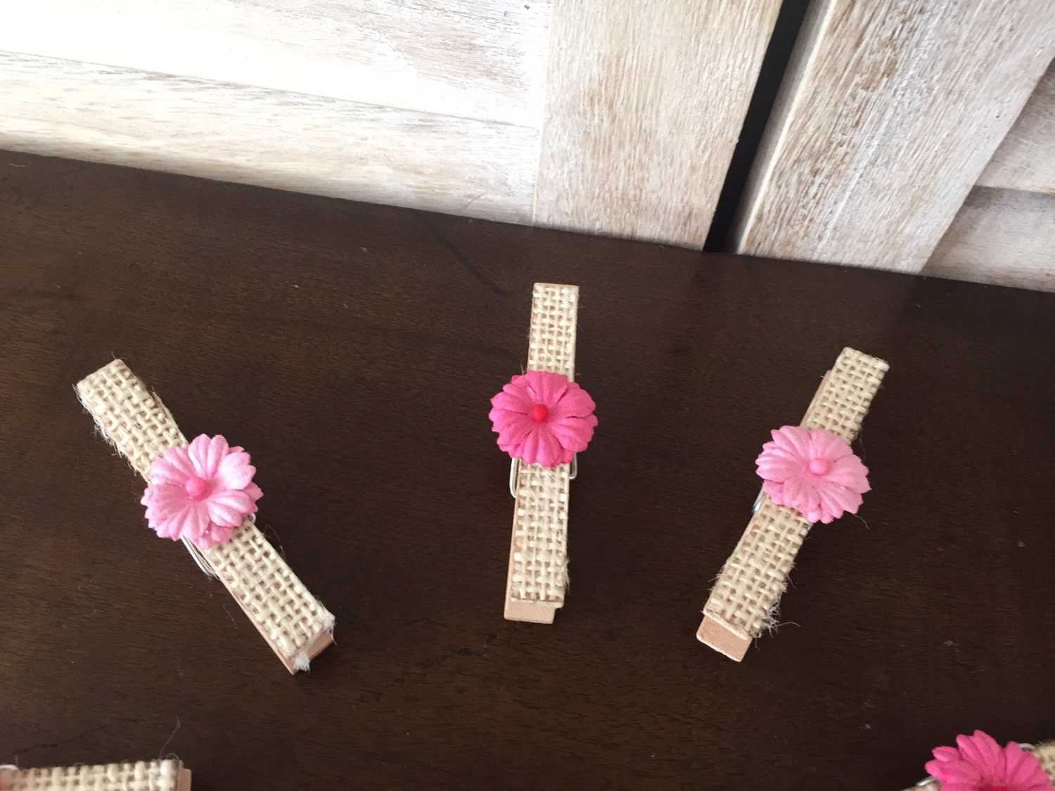Set Of (10) Rustic Pink Girl Baby Shower Clothes Pins, Burlap And Pink Baby  Pins, Handmade Shabby Chic Girl Baby Shower Decorations