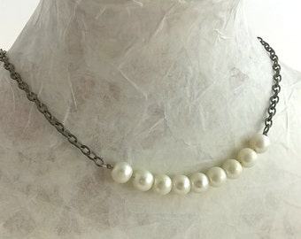 Glass pearl chain necklace - medieval style!
