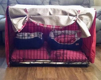 Pet Crate Cover, 24x36 Fabric Curtain, Stylish Pet Crate Cover, Custom Made (Table top not included)