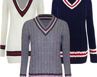 Ladies Womens V neck Cable Knitted Sweater Stretch Long Sleeve Top Cricket Jumper One Size