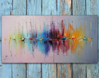 Modern Art, Abstract Art, Oil Painting Seascape, Sailboats, Original Artwork, Canvas Wall Decor, Abstract Canvas Art, Vivid Color, Knife Art