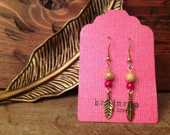 Pink & Gold Feather Earrings