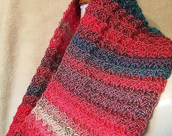 Pink Striped Lightweight Crochet Cowl Scarf, Pink Cowl, Striped Cowl Scarf, Crocheted Cowl Scarf, Lightweight Cowl, Small Circle Scarf