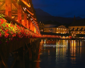 Chapel Bridge at Night, Lucerne, Switzerland Photo Print