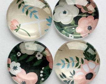 Glass Magnets - Floral Magnet Set of 4 - Fridge or Home & Office use - 30mm